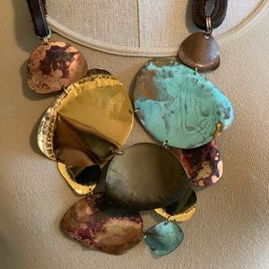 Anthropologie Sibilia Copper,  Leather Necklace